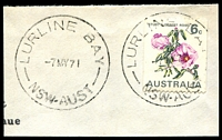 Lot 985:Lurline Bay: - 'LURLINE BAY/7MY71/NSW-AUST' on 6c Desert Rose.  PO 2/7/1962; closed 30/6/1994.