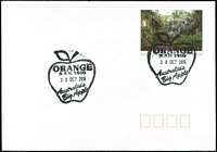 Lot 1018:Orange: - 2 strikes of pictorial '{apple}/ORANGE/N.S.W. 2800/30OCT2014/Australia's/Big Apple' on Postage Paid PSE.  PO 1/1/1849.