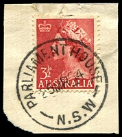 Lot 1023:Parliament House Sydney: - 'PARLIAMENT HOUSE/25MR54/N.S.W' on 3½d red QEII.  Renamed from Legislative Assembly PO 1/2/1895.