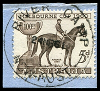 Lot 1055:River Camp: - 'RIVER CAMP/24MR61/NSW-AUST' on 5d Melbourne Cup.  PO 27/4/1959; closed 8/12/1961. [Snowy River Scheme]