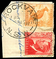 Lot 1060:Rockvale: - 'ROCKVALE/5FE51/N.S.W' (inverted dateline) on ½d roo & 2½ red KGVI.  PO 15/11/1897; TO 1/7/1964; closed 19/5/1967.