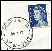 Lot 1081:Smiggin Holes: - 'SMIGGIN HOLES/29SE70/NSW-2630' (LRD) on 5c blue QEII.  PO 2/9/1963; renamed Perisher Valley PO 15/3/1971. [Snowy Mountains Scheme]