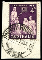 Lot 1082:Snowy River House: - 'SNOWY RIVER HOUSE/30DE1958/N.S.W.' on 4d Xmas.  RO 1/10/1907; PO 7/12/1908; RO 1/3/1916; PO 1/7/1927; TO 18/5/1931; PO 1/12/1936; closed 20/6/1960.