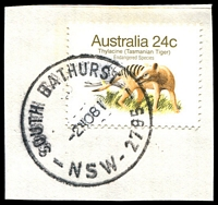 Lot 1085:South Bathurst: - 'SOUTH BATHURST/2NO81/NSW-2795' (Closing day) on 24c Thylacine. [H & T record 1981 only.]  PO 3/3/1909; closed 2/11/1981.