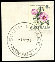 Lot 1089:South Coogee: - 'SOUTH COOGEE/1MY71/NSW-AUST' on 6c Sturt's Desert Rose.  PO 15/10/1934; closed c.1987.