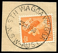 Lot 1097:South Wagga Wagga: - 'STH WAGGA WAGGA/25AU58/N.S.W-AUST' (ERD) on 6½d orange QEII. [Hopson & Tobin record 1948 only.]  PO 15/5/1911; closed c.1994.