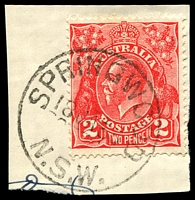 Lot 1101:Springwood: - 'SPRINGWOOD/18JA33/N.S.W.' (no arcs) on 2d red KGV.  PO 1/8/1880.