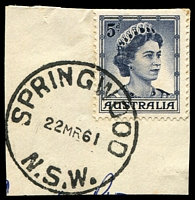 Lot 1102:Springwood: - 'SPRINGWOOD/22MR61/N.S.W.' (Type 2C) on 5d blue QEII.  PO 1/8/1880.