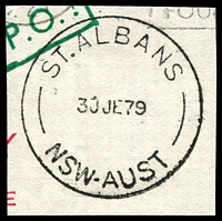 Lot 1103:St. Albans: - 'ST.ALBANS/30JE79/NSW-AUST' on piece.  PO 1/7/1854; closed 10/8/1979.