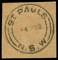 Lot 1106:St. Paul's: - 'ST PAULS/4AP60/=N.S.W=' on piece.  PO 15/12/1914.