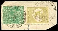 Lot 1107:Stanford Merthyr: - 2 strikes of 'STANFORD MERTHYR/4AP24/N.S.W' on 1½d green KGV & 3d Roo.  PO 2/3/1914; closed 30/10/1971.