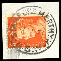 Lot 1108:Stanford Merthyr: - 'STANFORD MERTHYR/17AU71/N.S.W' (LRD) on 6c orange QEII.  PO 2/3/1914; closed 30/10/1971.