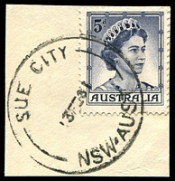 Lot 1118:Sue City: - 'SUE CITY/13FE61/NSW-AUST' on 5d blue QEII.  PO 5/1/1959; closed 8/12/1961. [Snowy Mountains Scheme]