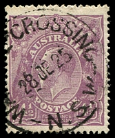 Lot 1164:Wakool Crossing (2): - 'WA[KOO]L CROSSING/28DE25/N.S.W' on 4½ violet KGV.  PO 1/6/1911; renamed Kyalite RO 4/5/1927.