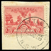Lot 1182:Wattle Flat: - 'WATTLE FLAT/12OC36/N.S.W' on 2d SA Centenary.  PO 1/4/1861; closed 31/10/1980.