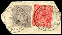 Lot 1211:Westmead: - 2 strikes of 'WESTMEAD/22JE25/N.S.W.' on 1½d red & 3d blue KGV. [Hopson & Tobin record 1932 as ERD.]  PO 24/9/1923.
