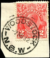 Lot 1241:Woodstock: - 27mm 'WOODSTOCK/7NO32/N.S.W' on 2d red KGV.  PO 13/2/1888.