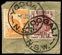 Lot 1277:Yoogali: - 2 partly overlapping strikes of 'YOOGALI/6JL51/N.S.W.' on ½d Roo & 3d Resp. Govt.  PO 17/3/1924; closed 31/1/1991.