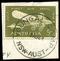 Lot 1280:Youngal Camp: - 'YOUNGAL CAMP/13AU64/NSW-AUST' on 5d Air Mail.  PO 19/6/1962; closed 6/1/1966. [Snowy Mountains Scheme]