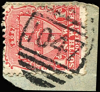 Lot 739:1047: 2nd BN (20mm wide) on 1d Arms. [Rated R]  Allocated to The Rock-PO 1/9/1880.