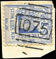 Lot 740:1075: BN on 2d blue. [Rated SS]  Allocated to Hermitage Plains-PO 16/4/1881; renamed Hermidale PO 15/5/1892; closed 6/6/1994.