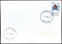 Lot 1411:Cardwell: - 2 strikes of 'CARDWELL/12AUG2015/QLD 4849' on 70c Lighthouse on unaddressed cover.  PO 10/7/1864.