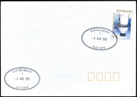 Lot 1414:Clifton Beach: - 2 strikes of 42x27mm double-oval 'CLIFTON BEACH/1/6AUG2015/QLD 4879' on 70c Lighthouse on unaddressed cover.  PO 2/6/1969.