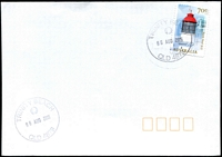 Lot 1548:Trinity Beach: - 2 strikes of 33mm 'TRINITY BEACH/06AUG2015/QLD 4879' on 70c Lighthouse on unaddressed cover.  PO c.1949.