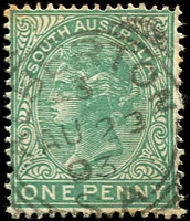 Lot 1629:Alberton: - 23mm squared-circle 'ALBERTON/3/AU23/93/S.A' on 1d green DLR.  PO 1/1/1855.