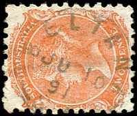 Lot 1638:Beltana: - framed 'BELTANA/JU10/91/S_A' on 2d orange DLR. [Rated R]  PO 1/7/1866; closed 23/11/1981.
