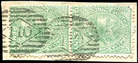 Lot 1623:110: 2 strikes on 1d green DLR pair. [Rated R]  Allocated to Sandergrove-PO 1/1/1858; closed c.1909.