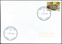 Lot 1913:Smithton: - 2 strikes of 37mm double-circle 'SMITHTON/3/8DEC2014/TAS 7330' on 70c Tiger Snake on unaddressed cover.  Renamed from Duck River PO 1/7/1895.