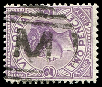 Lot 10933:1000: 'M' on 2d violet. [Rated R]  Allocated to Youarang-PO 8/6/1877; RO 1/2/1908; closed 17/12/1910.