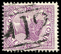 Lot 2113:1012: 'M12' on 2d violet. [Rated SS]  Allocated to Cape Otway-TO 1/8/1859; PO 1/9/1880; RO 21/10/1918; PO 1/7/1927; closed 31/7/1972.