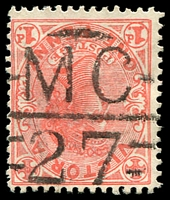 Lot 2152:1127: 'MC/27' on 1d pink. [Rated R]  Allocated to Chintin-PO 1/5/1879; closed 30/9/1965.