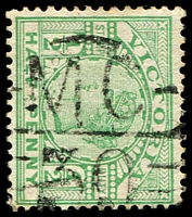 Lot 2153:1130: 'MC/30' on ½d green Stamp Duty. [Rated R]  Allocated to Metung-PO 2/6/1879; LPO 1/11/1993.