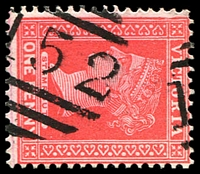 Lot 2161:1152: 2 part strikes of '1152' on 1d pink. [Rated 2R]  Allocated to Capel's Crossing-PO 1/11/1879; closed 2/7/1946.