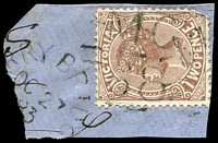 Lot 11026:1168: 'MC/68' on 2d sepia tied by unframed '[PE]RRY BRIDG[E]/OC27/83/[VIC]' (B3). [Rated SS]  Allocated to Perry Bridge-PO 10/12/1879, provisionally closed 30/4/1956; closed 16/7/1956.
