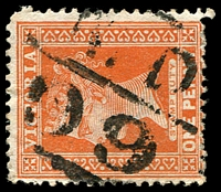 Lot 11179:1599: 'MD/99' on 1d brown.  Allocated to Carrajung-PO 1/11/1887; closed 31/10/1974.