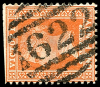 Lot 12893:1622: 1st non-duplex type on 1d brown (trimmed perfs). [Rated 4R]  Allocated to Abbotsford-PO 9/1/1888; LPO 4/1/2000.