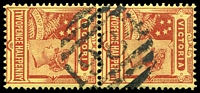 Lot 2296:1984: on 2½d red on yellow pair. [Rated SS]  Allocated to Pitfield Plains-PO 1/1/1897; closed 3/9/1946.