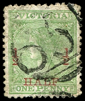 Lot 2002:651: '651' on ½d on 1d green Laureate o/print. [Rated R]  Allocated to Croxton East-PO 18/5/1868; closed 11/4/1959.