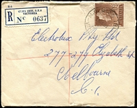 Lot 2588:Glen Iris (1): - WWW #310A 'M.O. GLEN IRIS/13OC58/VIC-AUST', (A1 backstamp) on 1/7d QEII on cover with blue registration label, small tear. [Rated R]  PO 28/8/1890; renamed Glen Iris Delivery Centre DC 31/3/1995.