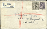 Lot 2687:Pax Hill: - WWW #10A 'PAX HILL/11JE59/VIC-AUST' on 1d purple QEII & 1/6d Hermes on cover with blue registration label.  PO 1/8/1950; closed 30/11/1972.