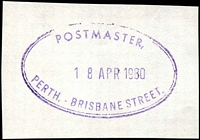 Lot 2991:Brisbane Street: - 29x47mm violet double-oval 'POSTMASTER,/18APR1980/PERTH. - BRISBANE STREET.'. [Not recorded by PMI - Different lettering than ORS1.]  Renamed from Perth North PO 1/4/1898.