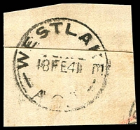 Lot 932:Westlake: - 'WESTLAKE/18FE41/A.C.T' on registered piece.  PO 6/4/1925; closed 31/5/1955.