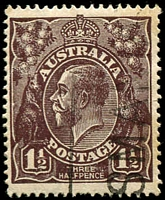 Lot 325:1½d Black-Brown Die I - [3L32] Short shading lines behind roo, vertical crease.