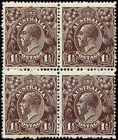 Lot 324:1½d Black-Brown Die I - BW #84(2)k [2R34-35, 40-41] block of 4, unit 34 with White flaw right of wattle stem at right - ACCC state II, Cat $75+, unit 40 with some toned perf tips, some fluffy perfs, lower units MUH.