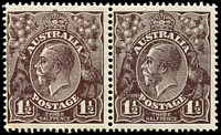 Lot 322:1½d Black-Brown Die I - BW #84(2)e [2L26-27] pair, unit 27 with TA of POSTAGE joined at top [2L27], unit 26 with toned corner perfs, Cat $75.