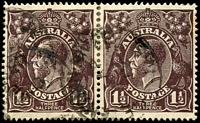 Lot 181:1½d Black-Brown Die I - [2R5-6] pair, unit 6 with curved white flaw in left wattles, few toned perfs.